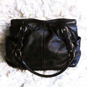 B. Makowsky black leather tote bag shoulder bag
